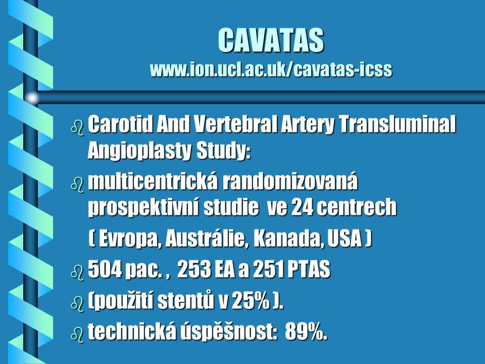 CAVATAS www.ion.ucl.ac.uk/cavatas-icss b Carotid And Vertebral Artery Transluminal Angioplasty Study: b multicentrická randomizovaná prospektivní stud