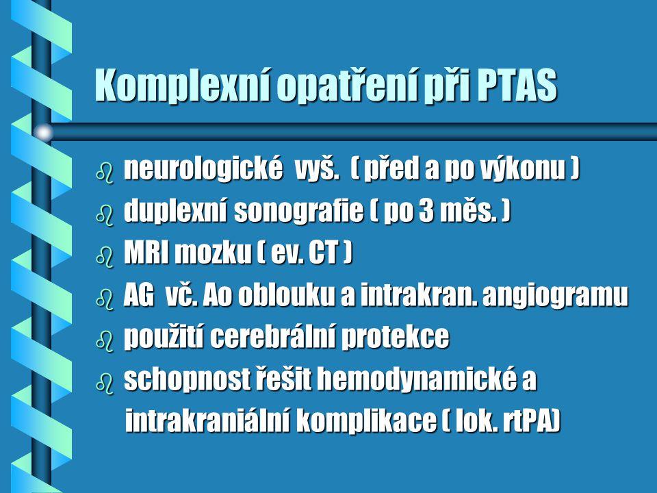 Komplexní opatření při PTAS b neurologické vyš. ( před a po výkonu ) b duplexní sonografie ( po 3 měs. ) b MRI mozku ( ev. CT ) b AG vč. Ao oblouku a
