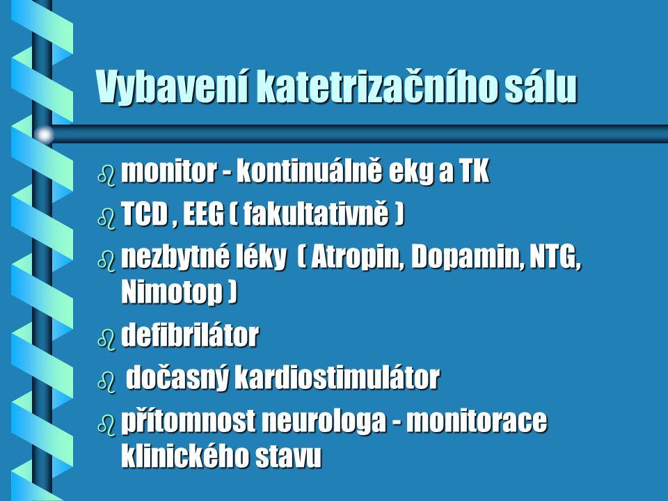Vybavení katetrizačního sálu b monitor - kontinuálně ekg a TK b TCD, EEG ( fakultativně ) b nezbytné léky ( Atropin, Dopamin, NTG, Nimotop ) b defibri
