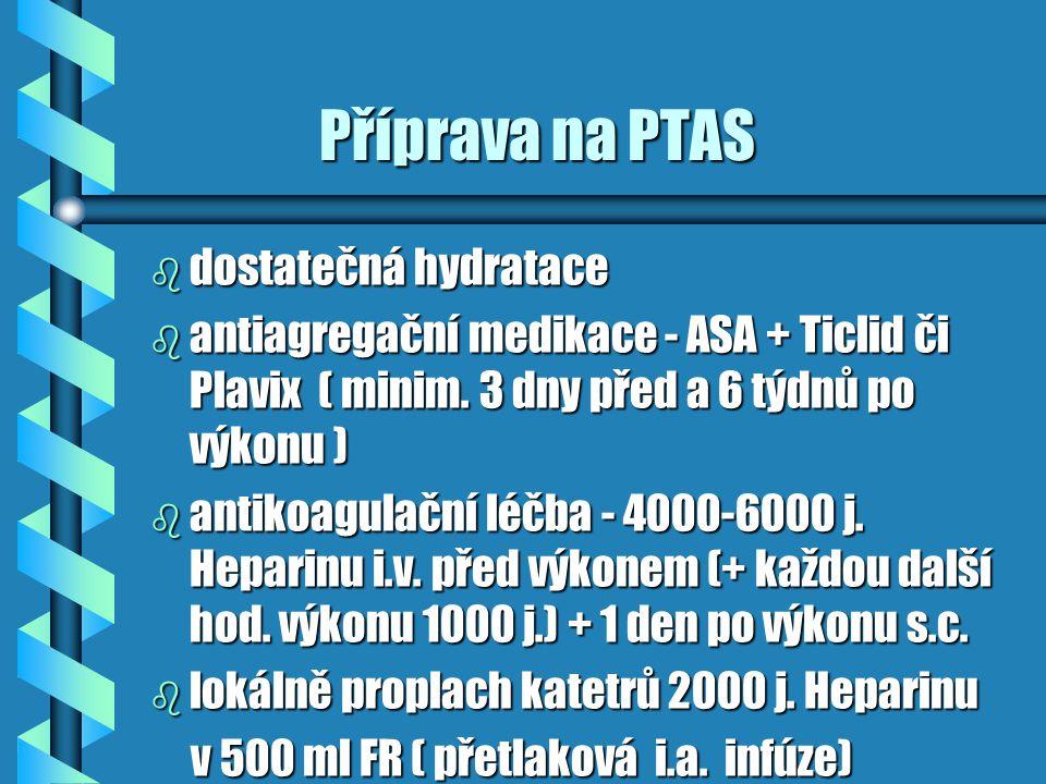 Příprava na PTAS Příprava na PTAS b dostatečná hydratace b antiagregační medikace - ASA + Ticlid či Plavix ( minim. 3 dny před a 6 týdnů po výkonu ) b