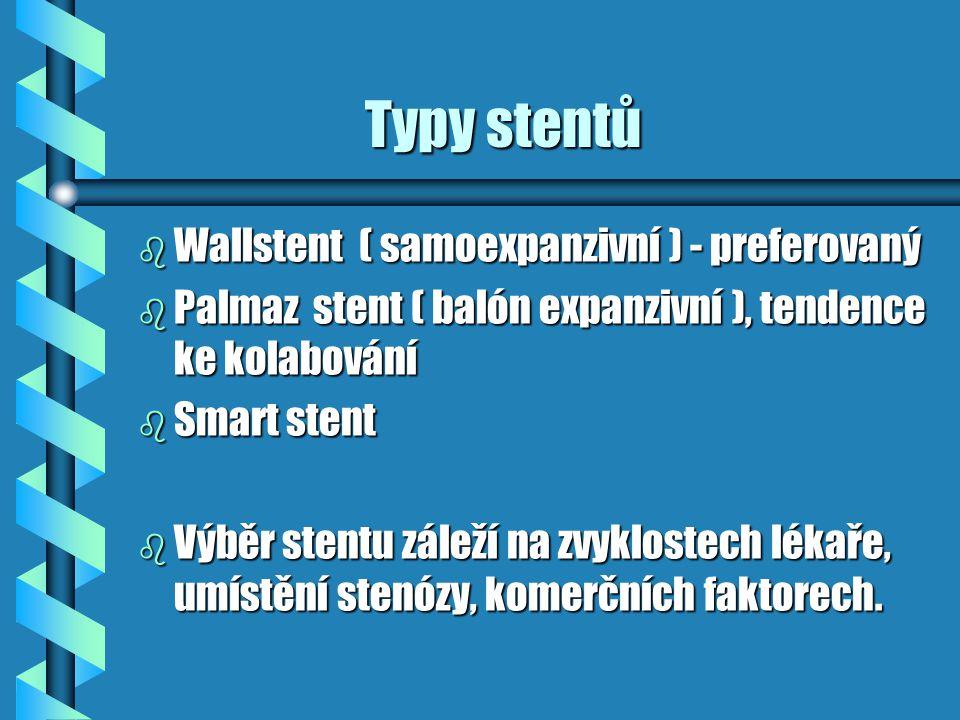 Typy stentů Typy stentů b Wallstent ( samoexpanzivní ) - preferovaný b Palmaz stent ( balón expanzivní ), tendence ke kolabování b Smart stent b Výběr