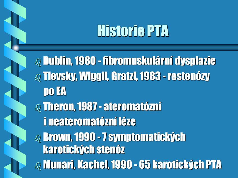 Historie PTA b Dublin, 1980 - fibromuskulární dysplazie b Tievsky, Wiggli, Gratzl, 1983 - restenózy po EA po EA b Theron, 1987 - ateromatózní i neater