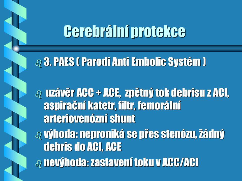 Cerebrální protekce Cerebrální protekce b 3. PAES ( Parodi Anti Embolic Systém ) b uzávěr ACC + ACE, zpětný tok debrisu z ACI, aspirační katetr, filtr