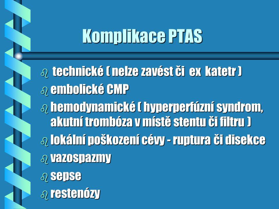 Komplikace PTAS Komplikace PTAS b technické ( nelze zavést či ex katetr ) b embolické CMP b hemodynamické ( hyperperfúzní syndrom, akutní trombóza v m