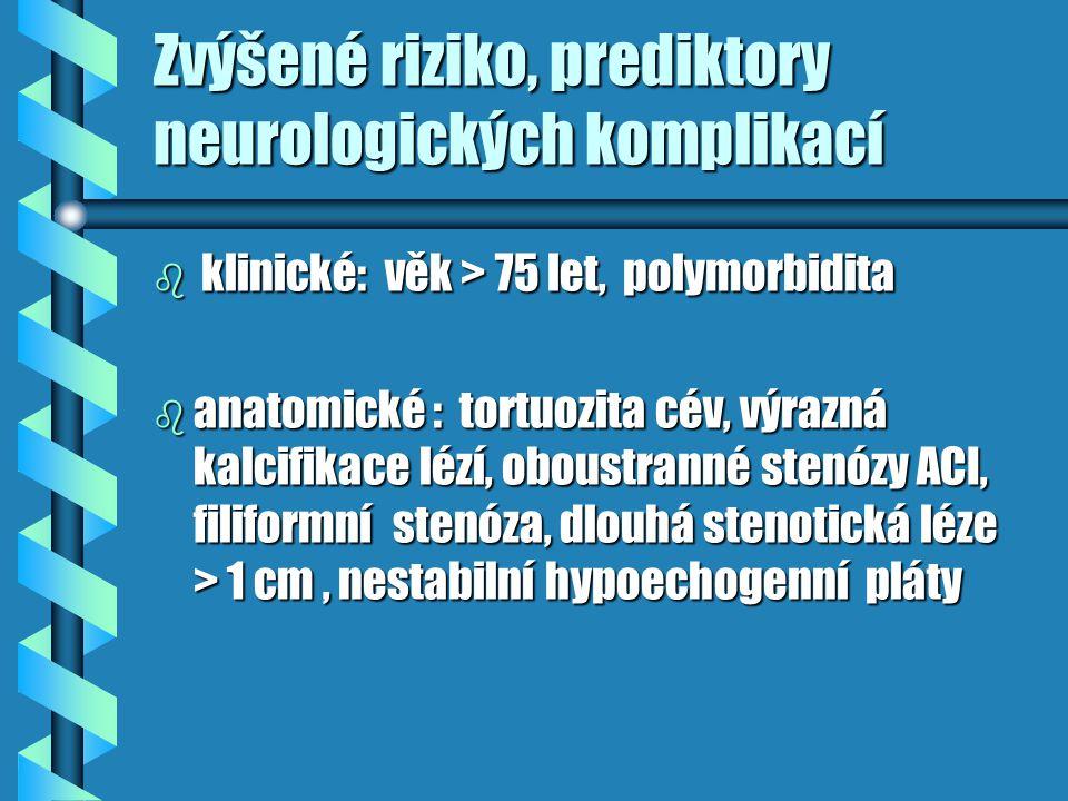 Zvýšené riziko, prediktory neurologických komplikací b klinické: věk > 75 let, polymorbidita b anatomické : tortuozita cév, výrazná kalcifikace lézí,