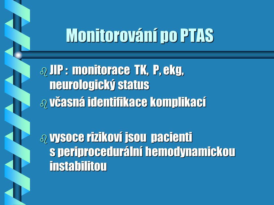 Monitorování po PTAS Monitorování po PTAS b JIP : monitorace TK, P, ekg, neurologický status b včasná identifikace komplikací b vysoce rizikoví jsou p