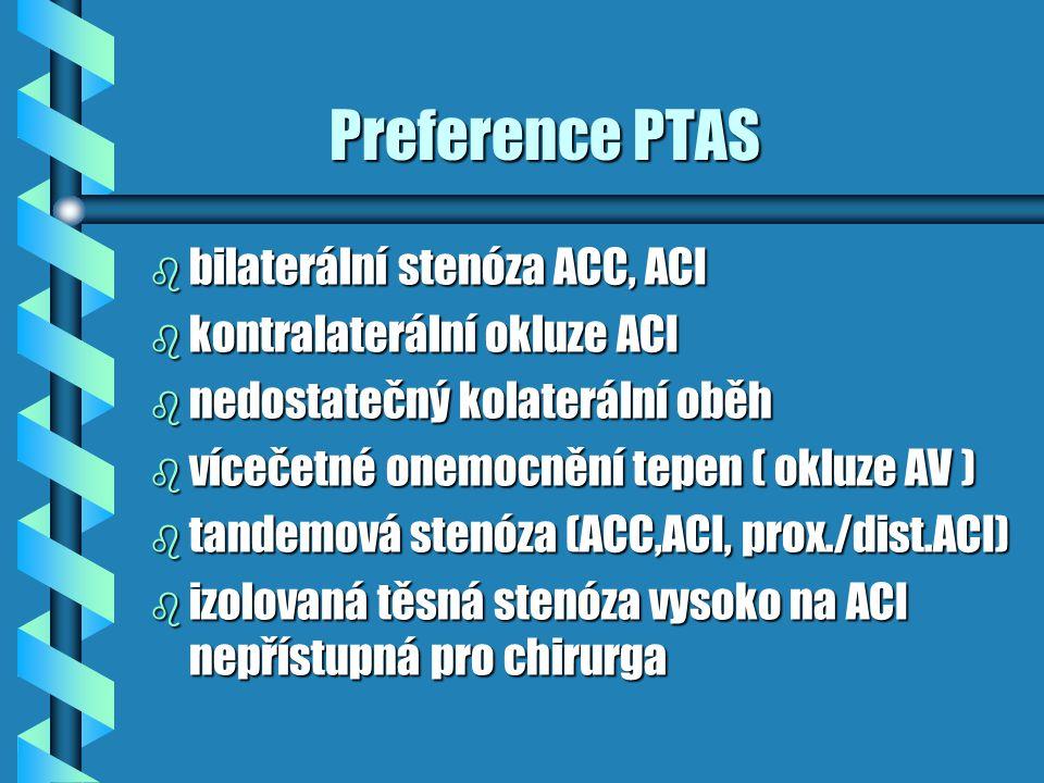 Preference PTAS Preference PTAS b bilaterální stenóza ACC, ACI b kontralaterální okluze ACI b nedostatečný kolaterální oběh b vícečetné onemocnění tep