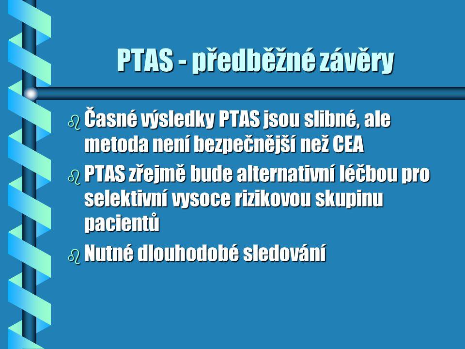 PTAS - předběžné závěry PTAS - předběžné závěry b Časné výsledky PTAS jsou slibné, ale metoda není bezpečnější než CEA b PTAS zřejmě bude alternativní