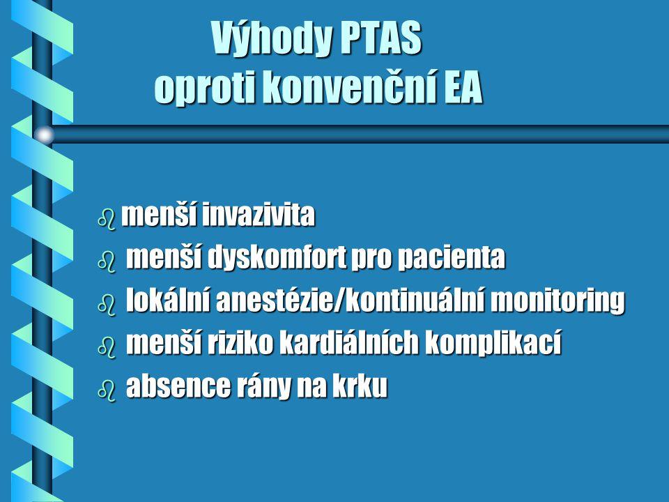 Výhody PTAS Výhody PTAS b není iatrogenní postižení kraniálních nervů (EA 7,6%) b není lokální hematom na krku (EA 5,5%) b není infekce v ráně (EA 3,4%) b kratší indukovaná okluze karotidy b dostupnost proximálních a distálních lézí