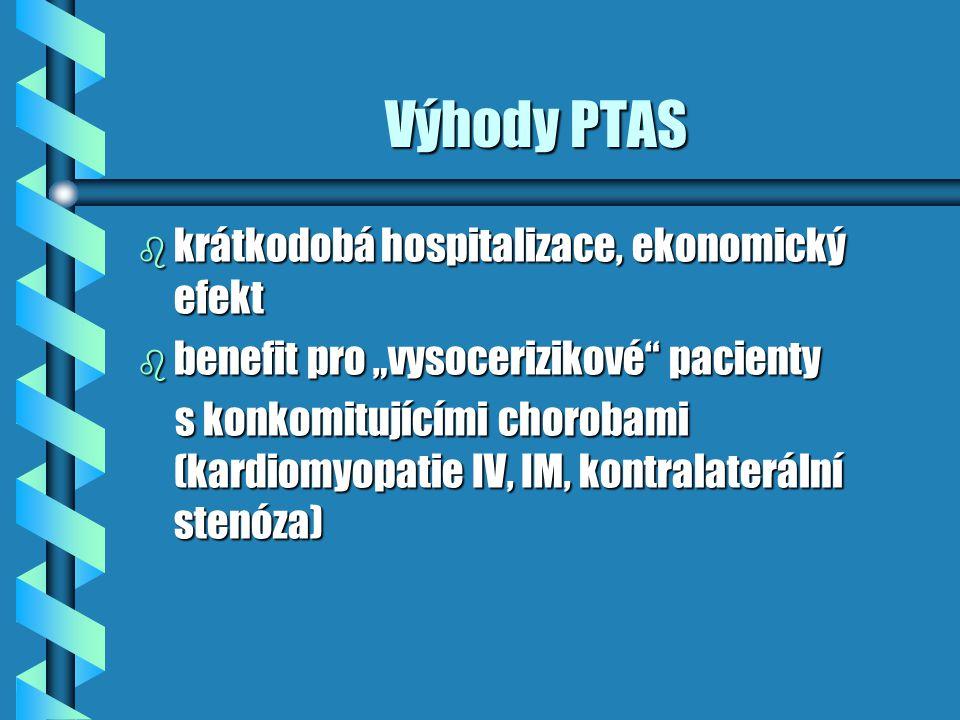 Nevýhody PTAS b riziko distální embolizace a iktu b endovaskulární nedostupnost léze - tortuosita, těsná stenóza, nemožný transfemorální přístup b iatrogenní disekce, vasospasmus b restenózy způsobené intimální hyperplazií, tvorbou trombu nebo cévním traumatem