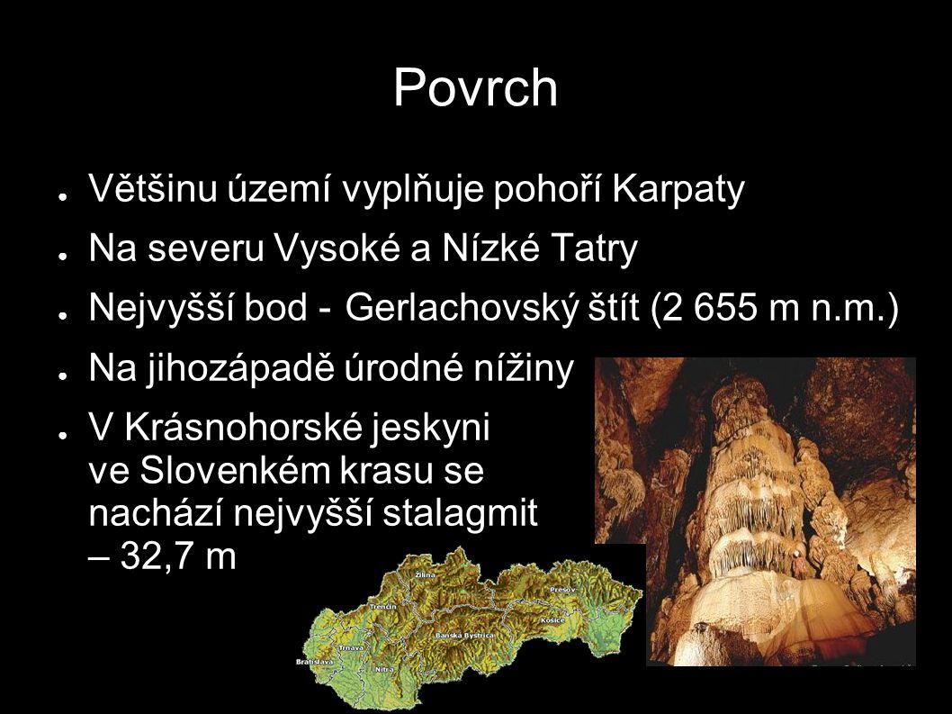 Povrch ● Většinu území vyplňuje pohoří Karpaty ● Na severu Vysoké a Nízké Tatry ● Nejvyšší bod -Gerlachovský štít (2 655 m n.m.) ● Na jihozápadě úrodné nížiny ● V Krásnohorské jeskyni ve Slovenkém krasu se nachází nejvyšší stalagmit – 32,7 m