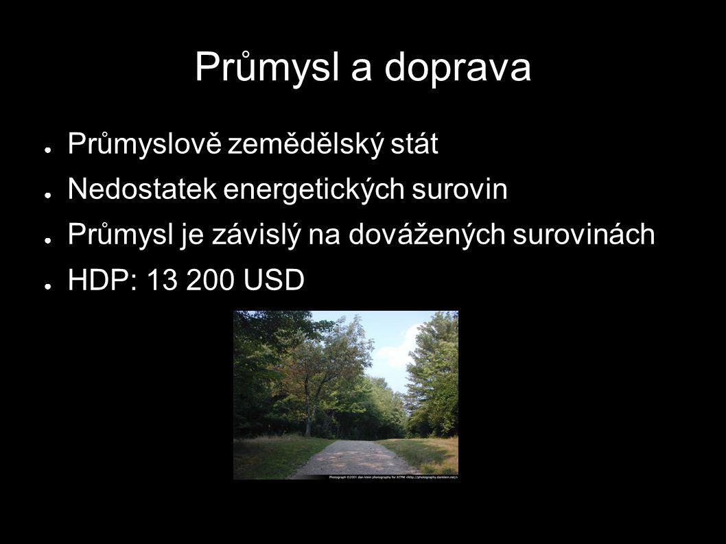 Průmysl a doprava ● Průmyslově zemědělský stát ● Nedostatek energetických surovin ● Průmysl je závislý na dovážených surovinách ● HDP: 13 200 USD