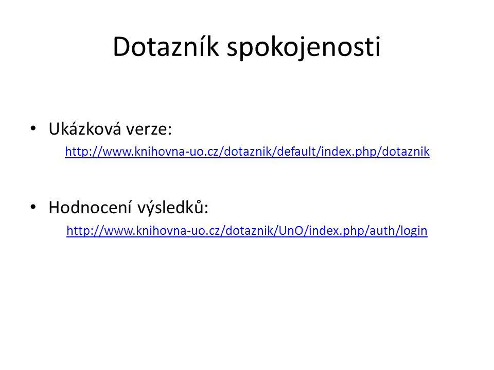 Dotazník spokojenosti Ukázková verze: http://www.knihovna-uo.cz/dotaznik/default/index.php/dotaznik Hodnocení výsledků: http://www.knihovna-uo.cz/dota