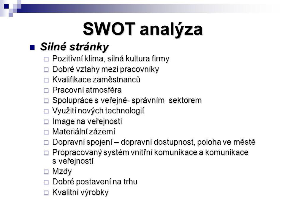 SWOT analýza Silné stránky Silné stránky  Pozitivní klima, silná kultura firmy  Dobré vztahy mezi pracovníky  Kvalifikace zaměstnanců  Pracovní at