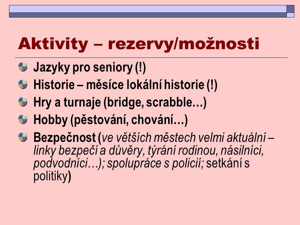 Aktivity – rezervy/možnosti Jazyky pro seniory (!) Historie – měsíce lokální historie (!) Hry a turnaje (bridge, scrabble…) Hobby (pěstování, chování…