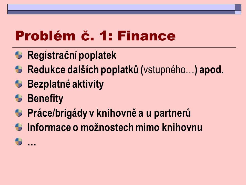 Problém č. 1: Finance Registrační poplatek Redukce dalších poplatků ( vstupného… ) apod. Bezplatné aktivity Benefity Práce/brigády v knihovně a u part