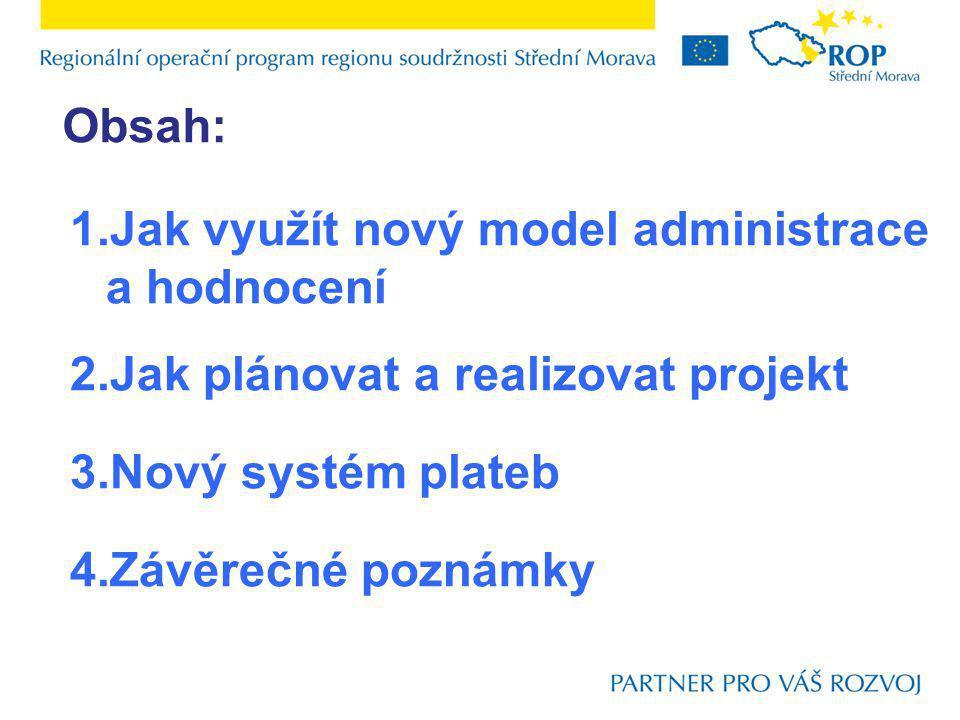 1.Jak využít nový model administrace a hodnocení 2.Jak plánovat a realizovat projekt 3.Nový systém plateb 4.Závěrečné poznámky Obsah: