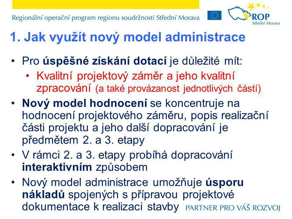 Pro úspěšné získání dotací je důležité mít: Kvalitní projektový záměr a jeho kvalitní zpracování (a také provázanost jednotlivých částí) Nový model ho