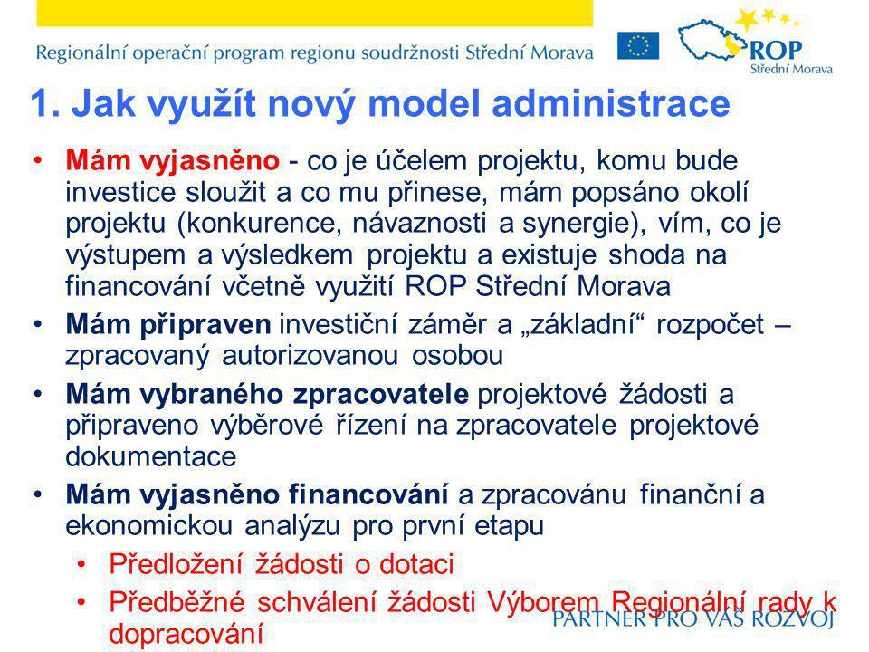 Mám vyjasněno - co je účelem projektu, komu bude investice sloužit a co mu přinese, mám popsáno okolí projektu (konkurence, návaznosti a synergie), ví