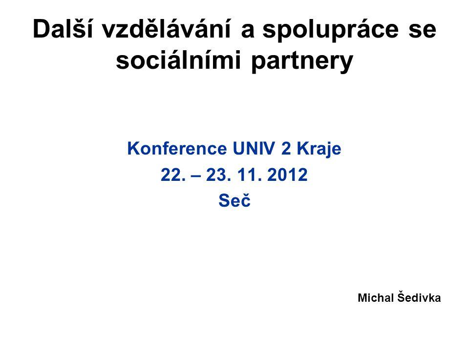 Další vzdělávání a spolupráce se sociálními partnery Konference UNIV 2 Kraje 22.