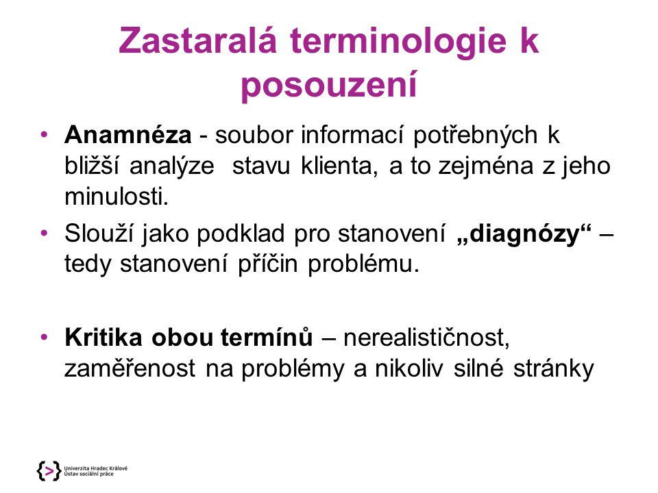 Zastaralá terminologie k posouzení Anamnéza - soubor informací potřebných k bližší analýze stavu klienta, a to zejména z jeho minulosti.