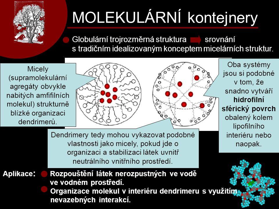 MOLEKULÁRNÍ kontejnery Globulární trojrozměrná struktura srovnání s tradičním idealizovaným konceptem micelárních struktur. Micely (supramolekulární a