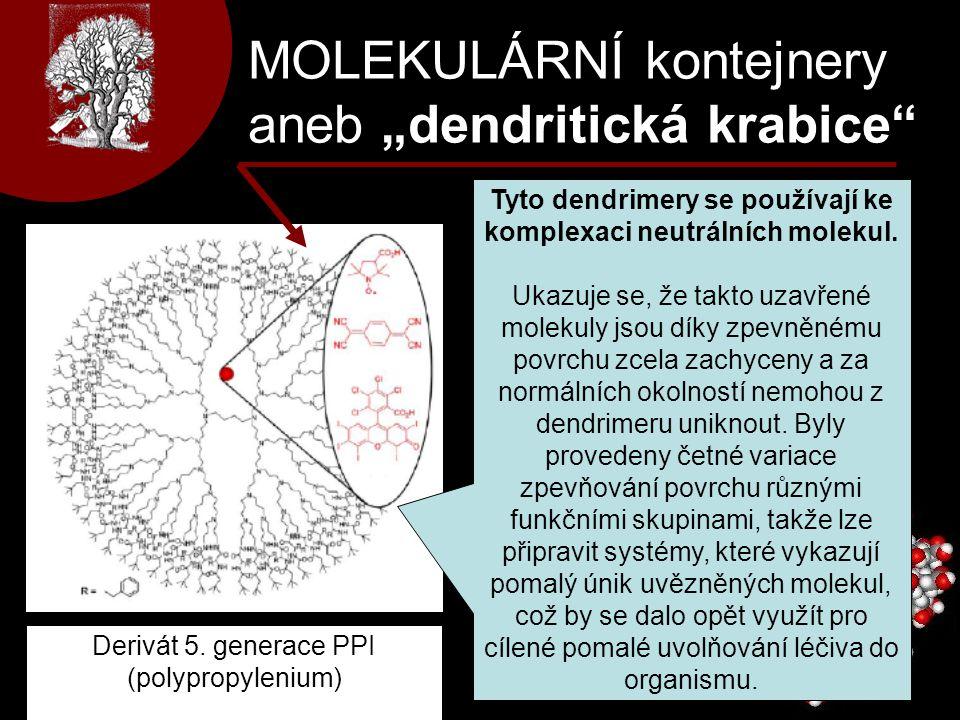 """MOLEKULÁRNÍ kontejnery aneb """"dendritická krabice"""" Tyto dendrimery se používají ke komplexaci neutrálních molekul. Ukazuje se, že takto uzavřené moleku"""