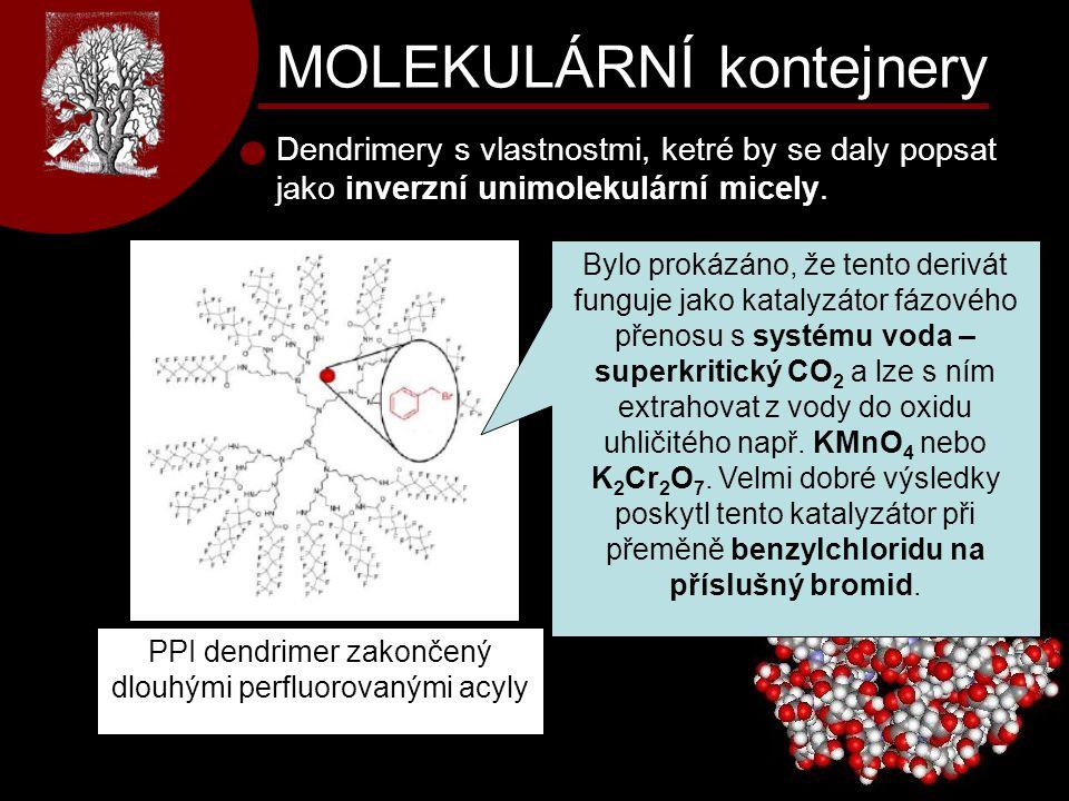 MOLEKULÁRNÍ kontejnery Dendrimery s vlastnostmi, ketré by se daly popsat jako inverzní unimolekulární micely. PPI dendrimer zakončený dlouhými perfluo