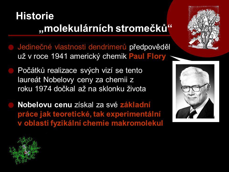 """Historie """"molekulárních stromečků"""" Jedinečné vlastnosti dendrimerů předpověděl už v roce 1941 americký chemik Paul Flory Počátků realizace svých vizí"""
