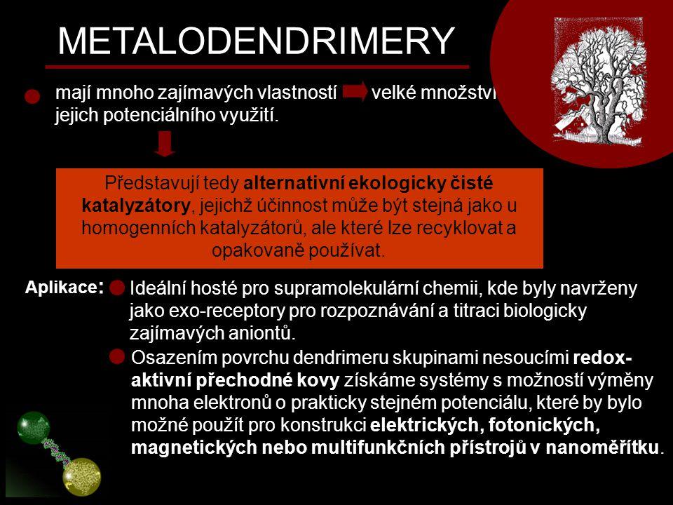 METALODENDRIMERY mají mnoho zajímavých vlastností velké množství jejich potenciálního využití. Představují tedy alternativní ekologicky čisté katalyzá
