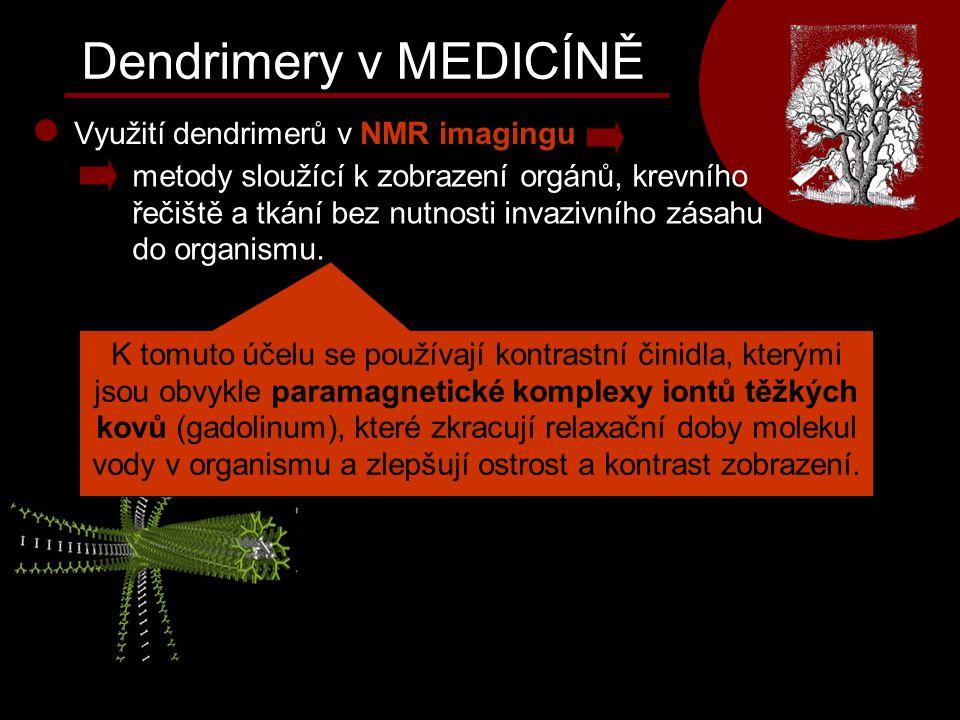 Dendrimery v MEDICÍNĚ Využití dendrimerů v NMR imagingu metody sloužící k zobrazení orgánů, krevního řečiště a tkání bez nutnosti invazivního zásahu d