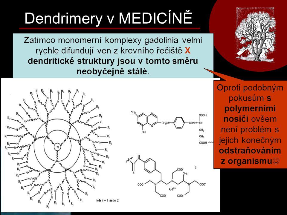 Zatímco monomerní komplexy gadolinia velmi rychle difundují ven z krevního řečiště X dendritické struktury jsou v tomto směru neobyčejně stálé. Dendri