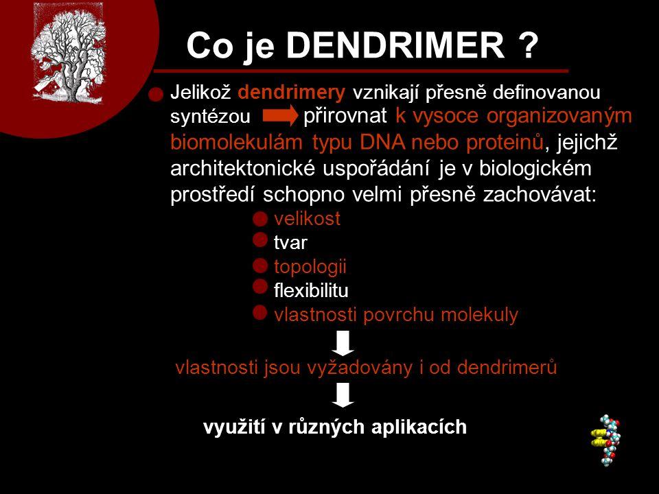 Co je DENDRIMER ? Jelikož dendrimery vznikají přesně definovanou syntézou velikost tvar topologii flexibilitu vlastnosti povrchu molekuly vlastnosti j