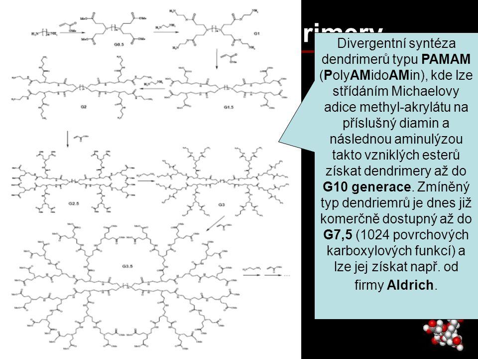 PAMAM dendrimery Divergentní syntéza dendrimerů typu PAMAM (PolyAMidoAMin), kde lze střídáním Michaelovy adice methyl-akrylátu na příslušný diamin a n
