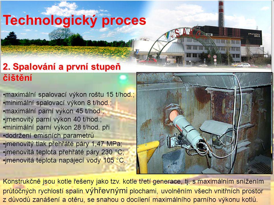 2. Spalování a první stupeň čištění Technologický proces maximální spalovací výkon roštu 15 t/hod.; minimální spalovací výkon 8 t/hod.; maximální parn