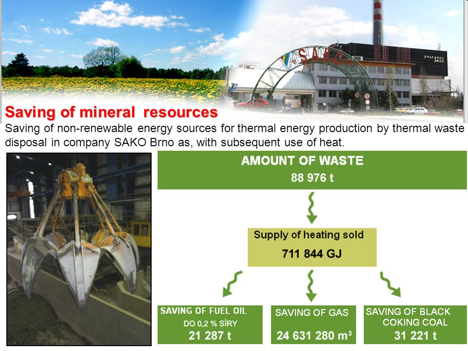Saving of mineral resources Saving of non-renewable energy sources for thermal energy production by thermal waste disposal in company SAKO Brno as, with subsequent use of heat.