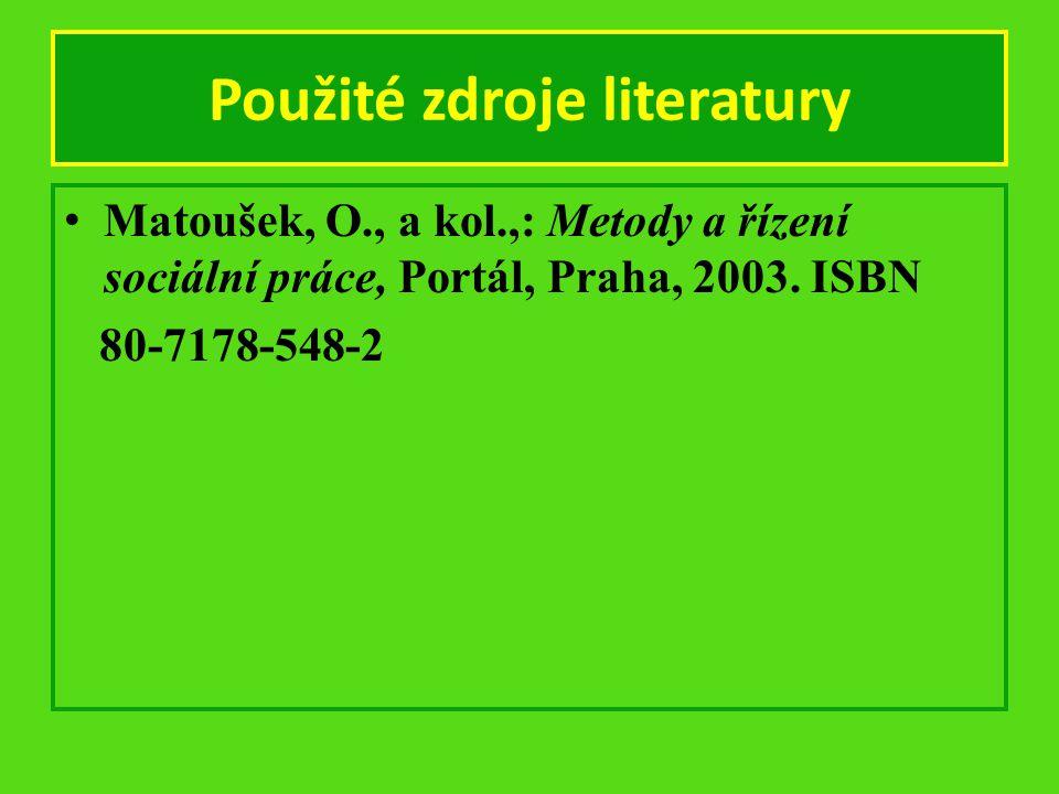 Použité zdroje literatury Matoušek, O., a kol.,: Metody a řízení sociální práce, Portál, Praha, 2003. ISBN 80-7178-548-2