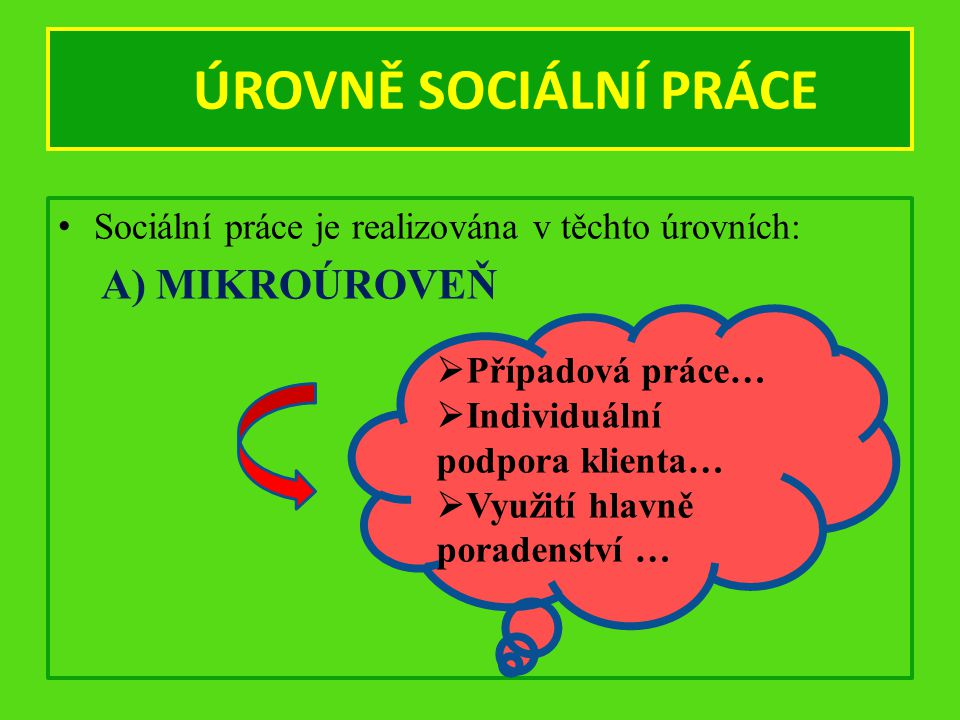 ÚROVNĚ SOCIÁLNÍ PRÁCE Sociální práce je realizována v těchto úrovních: A) MIKROÚROVEŇ  Případová práce…  Individuální podpora klienta…  Využití hlavně poradenství …