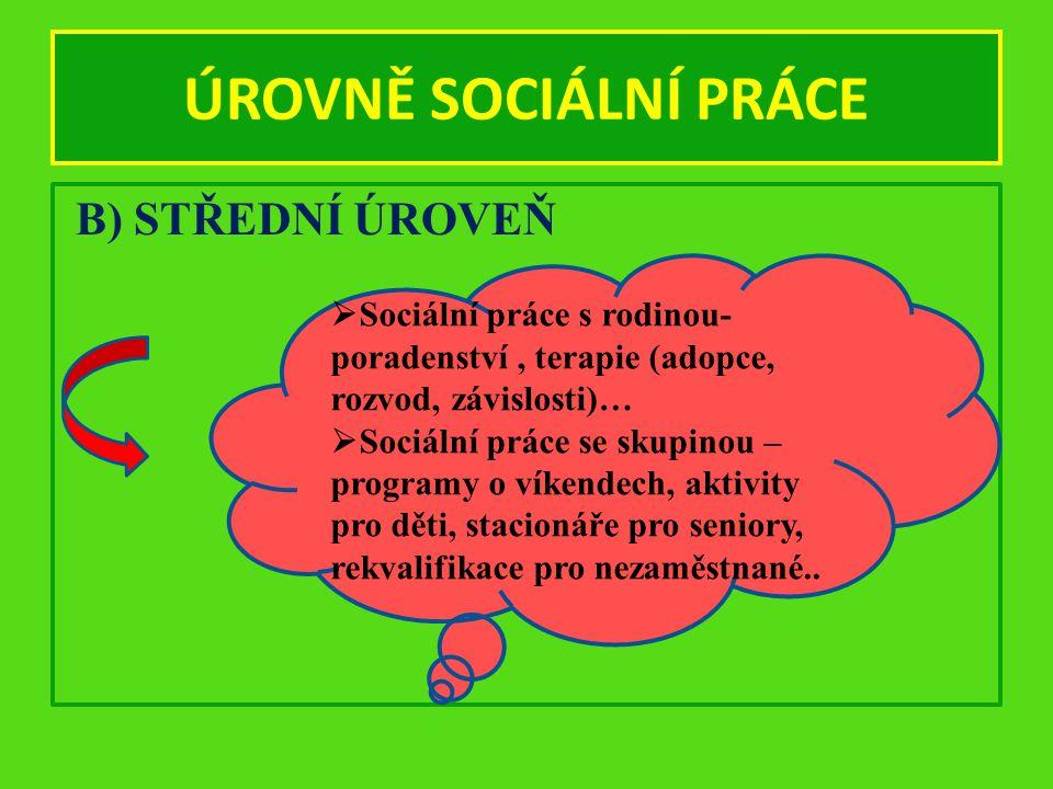 ÚROVNĚ SOCIÁLNÍ PRÁCE B) STŘEDNÍ ÚROVEŇ  Sociální práce s rodinou- poradenství, terapie (adopce, rozvod, závislosti)…  Sociální práce se skupinou –