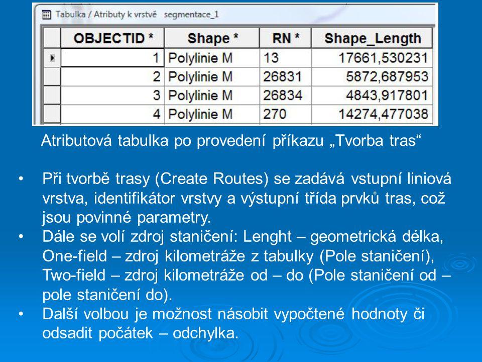 """Atributová tabulka po provedení příkazu """"Tvorba tras"""" Při tvorbě trasy (Create Routes) se zadává vstupní liniová vrstva, identifikátor vrstvy a výstup"""