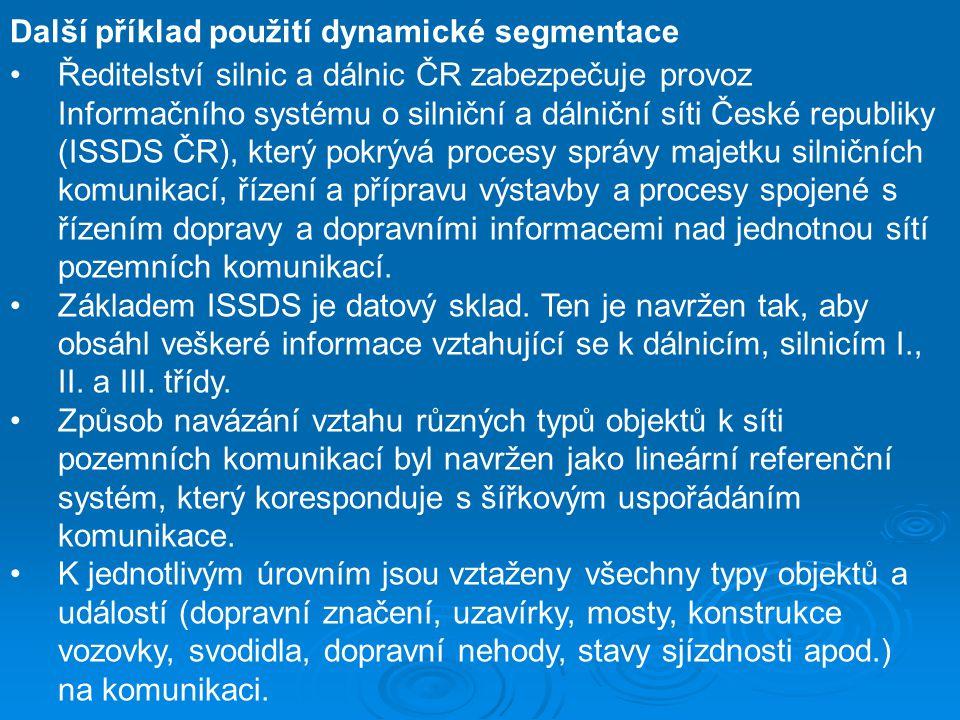 Další příklad použití dynamické segmentace Ředitelství silnic a dálnic ČR zabezpečuje provoz Informačního systému o silniční a dálniční síti České rep
