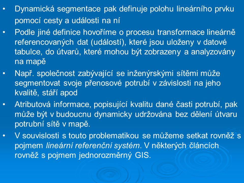 Dynamická segmentace pak definuje polohu lineárního prvku pomocí cesty a události na ní Podle jiné definice hovoříme o procesu transformace lineárně r