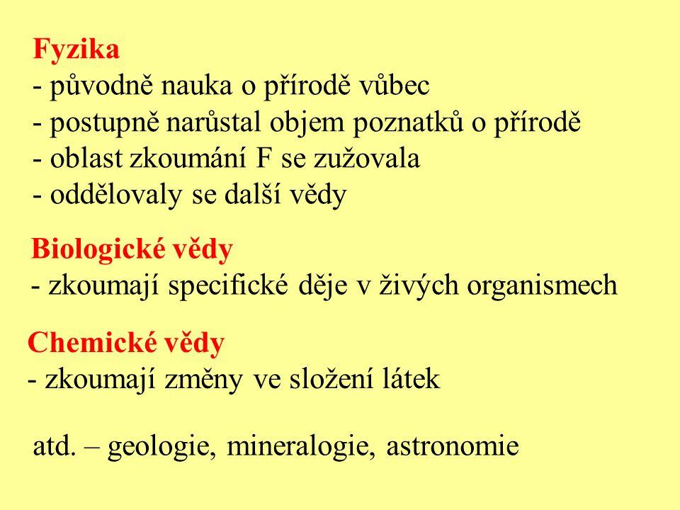 Fyzika - původně nauka o přírodě vůbec - postupně narůstal objem poznatků o přírodě - oblast zkoumání F se zužovala - oddělovaly se další vědy Biologi
