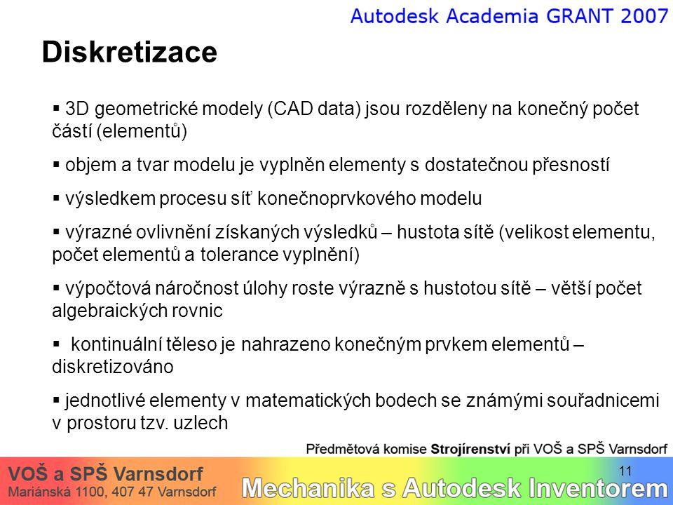 11 Diskretizace  3D geometrické modely (CAD data) jsou rozděleny na konečný počet částí (elementů)  objem a tvar modelu je vyplněn elementy s dostatečnou přesností  výsledkem procesu síť konečnoprvkového modelu  výrazné ovlivnění získaných výsledků – hustota sítě (velikost elementu, počet elementů a tolerance vyplnění)  výpočtová náročnost úlohy roste výrazně s hustotou sítě – větší počet algebraických rovnic  kontinuální těleso je nahrazeno konečným prvkem elementů – diskretizováno  jednotlivé elementy v matematických bodech se známými souřadnicemi v prostoru tzv.