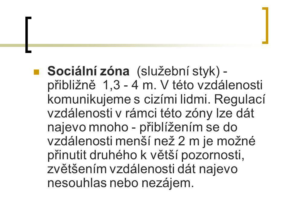 Sociální zóna (služební styk) - přibližně 1,3 - 4 m. V této vzdálenosti komunikujeme s cizími lidmi. Regulací vzdálenosti v rámci této zóny lze dát na