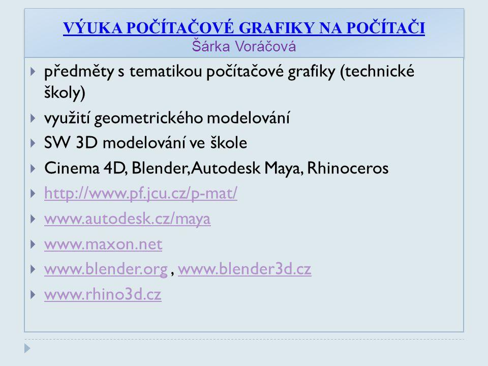 VÝUKA POČÍTAČOVÉ GRAFIKY NA POČÍTAČI Šárka Voráčová  předměty s tematikou počítačové grafiky (technické školy)  využití geometrického modelování  SW 3D modelování ve škole  Cinema 4D, Blender, Autodesk Maya, Rhinoceros  http://www.pf.jcu.cz/p-mat/ http://www.pf.jcu.cz/p-mat/  www.autodesk.cz/maya www.autodesk.cz/maya  www.maxon.net www.maxon.net  www.blender.org, www.blender3d.cz www.blender.orgwww.blender3d.cz  www.rhino3d.cz www.rhino3d.cz
