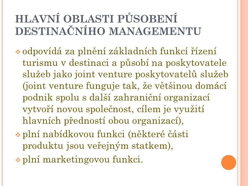 HLAVNÍ OBLASTI PŮSOBENÍ DESTINAČNÍHO MANAGEMENTU  odpovídá za plnění základních funkcí řízení turismu v destinaci a působí na poskytovatele služeb jako joint venture poskytovatelů služeb (joint venture funguje tak, že většinou domácí podnik spolu s další zahraniční organizací vytvoří novou společnost, cílem je využití hlavních předností obou organizací),  plní nabídkovou funkci (některé části produktu jsou veřejným statkem),  plní marketingovou funkci.