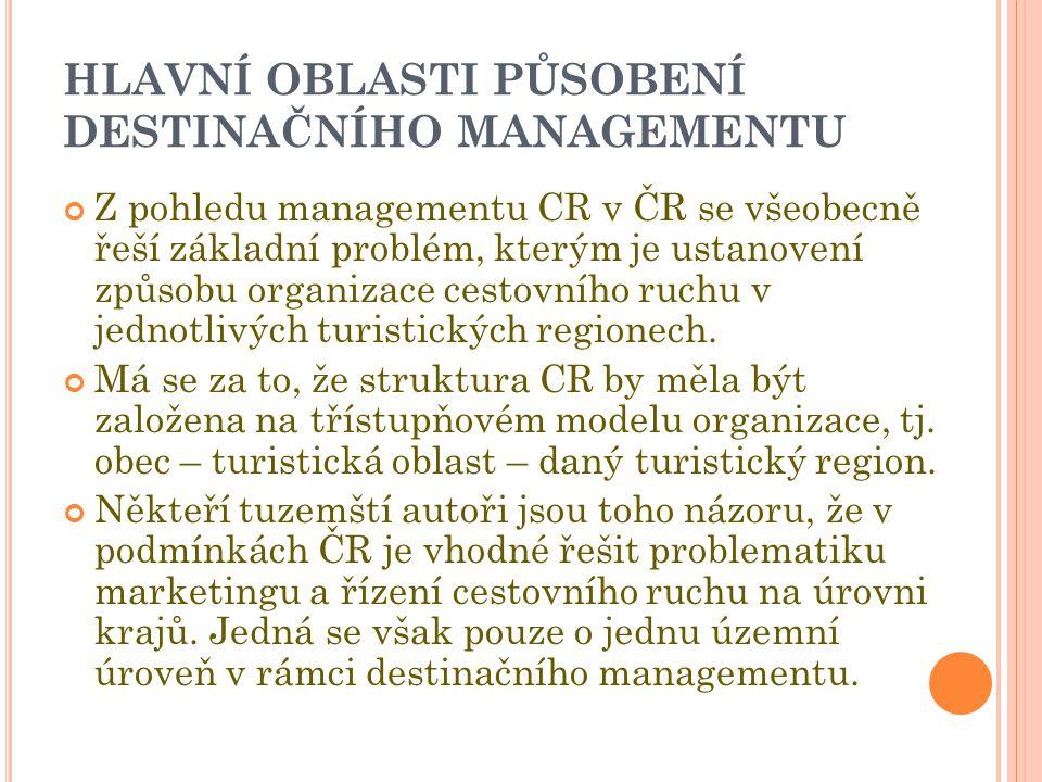 HLAVNÍ OBLASTI PŮSOBENÍ DESTINAČNÍHO MANAGEMENTU Z pohledu managementu CR v ČR se všeobecně řeší základní problém, kterým je ustanovení způsobu organizace cestovního ruchu v jednotlivých turistických regionech.