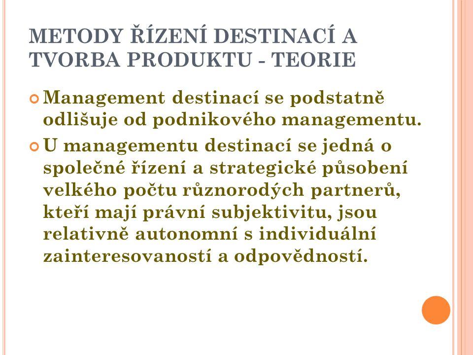METODY ŘÍZENÍ DESTINACÍ A TVORBA PRODUKTU - TEORIE Management destinací se podstatně odlišuje od podnikového managementu.