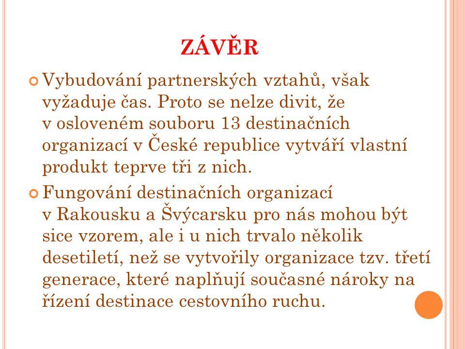 ZÁVĚR Vybudování partnerských vztahů, však vyžaduje čas. Proto se nelze divit, že v osloveném souboru 13 destinačních organizací v České republice vyt